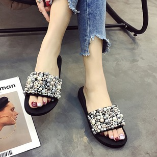 Pearl Slippers Cloth Low Heel Shoes