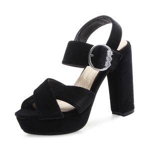Beading Buckle Sandals Pumps Platform Slingbacks Suede Chunky Heel Shoes