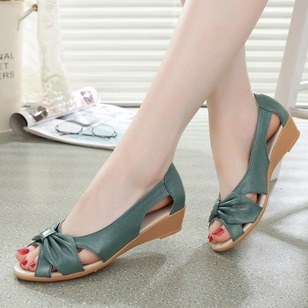 Bowknot Sandals PU Low Heel Shoes