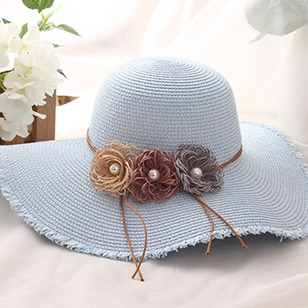 Elegant Straw Beading Flowers Solid Hats