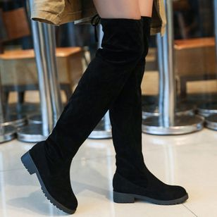 Women's Over The Knee Boots Nubuck Low Heel Boots (146847025)