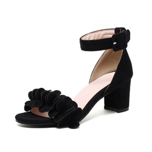 Buckle Heels Suede Chunky Heel Shoes