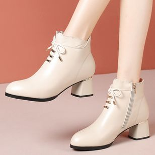 Women's Zipper Lace-up Ankle Boots Closed Toe Patent Leather Chunky Heel Boots (120295119)