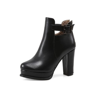 Heels Ankle Boots Leatherette Chunky Heel Shoes