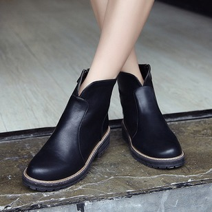 Zipper Ankle Boots PU Low Heel Shoes