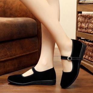 Buckle Closed Toe Flat Heel Shoes