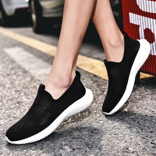 Women's Round Toe Fabric Flat Heel Sneakers (147037441)