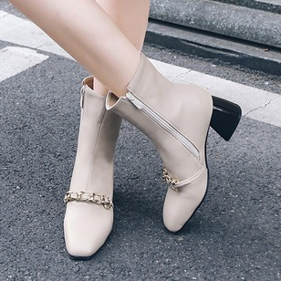 Zipper Chain Ankle Boots PU Chunky Heel Shoes