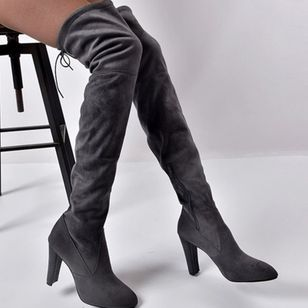 Women's Lace-up Over The Knee Boots Pointed Toe Heels Nubuck Chunky Heel Boots (111608153)