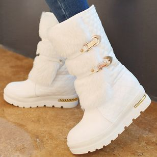 Buckle Split Joint Mid-Calf Boots Low Heel Shoes