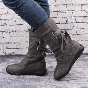 Lace-up Mid-Calf Boots PU Flat Heel Shoes