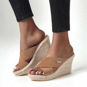 Women's Peep Toe Nubuck Wedge Heel Sandals (1513144)