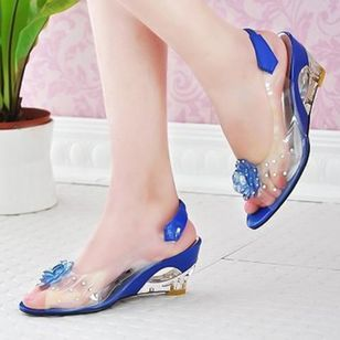 Women's Flower Slingbacks Patent Leather Wedge Heel Sandals (1294875)