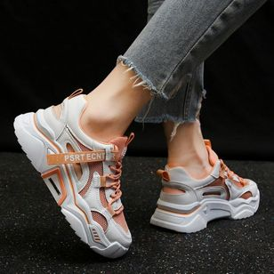 Women's Net Surface Lace-up Closed Toe Fabric Flat Heel Sneakers (4265508)