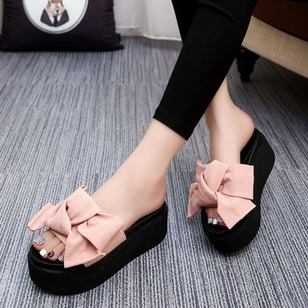 Bowknot Cotton Flat Heel Shoes