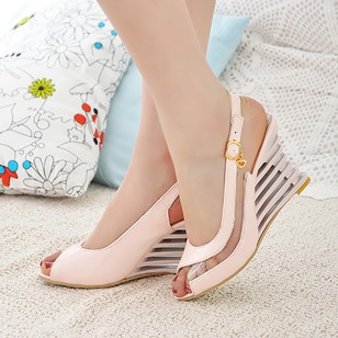 Women's Wedges Sandals Peep Toe Slingbacks Wedge Heel Leatherette Shoes