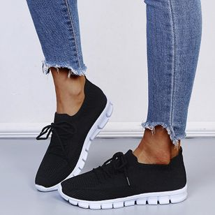 Women's Lace-up Closed Toe Fabric Wedge Heel Sneakers (147414178)