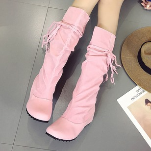 Lace-up Braided Strap Mid-Calf Boots Flat Heel Shoes