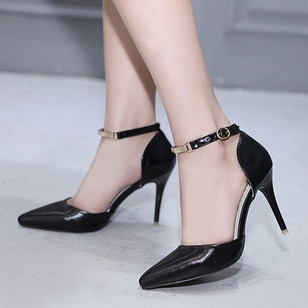 Ankle Strap Heels PU Stiletto Heel Shoes
