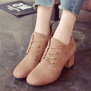 Lace-up Closed Toe Chunky Heel Shoes