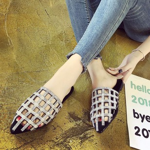 Rhinestone Slippers PU Flat Heel Shoes