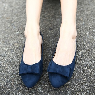 Bowknot Pointed Toe Nubuck Low Heel Shoes