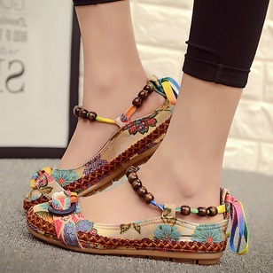 Ankle Strap Pumps PU Low Heel Shoes