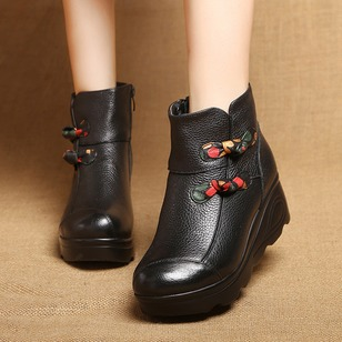Zipper Button Ankle Boots Real Leather Flat Heel Shoes