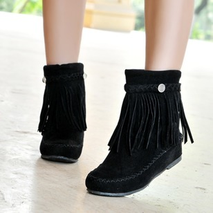 Tassel Braided Strap Ankle Boots Leatherette Low Heel Shoes