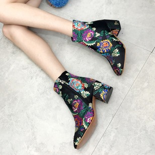 Zipper Flower Ankle Boots Cloth Chunky Heel Shoes