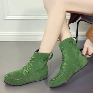 Women's Lace-up Ankle Boots Flocking Flat Heel Boots (1140329)