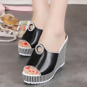 Grommet Peep Toe PU Wedge Heel Shoes