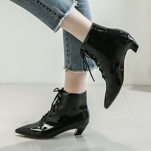 Lace-up Ankle Boots Nubuck Kitten Heel Shoes