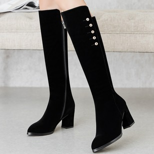 Zipper Knee High Boots Suede Chunky Heel Shoes