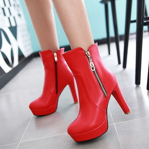 Rhinestone Zipper Platform Ankle Boots Leatherette Chunky Heel Shoes