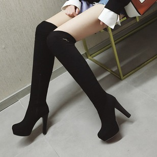 Zipper Platform Heels Over The Knee Boots Cloth Chunky Heel Shoes