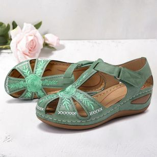 Women's Embroidery Round Toe Flats Flat Heel Sandals Flats (4347866)