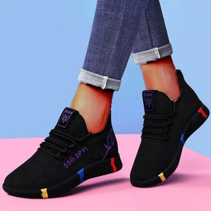 Women's Lace-up Low Top Fabric Cloth Flat Heel Sneakers (146672977)