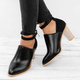 Ankle Strap Closed Toe Chunky Heel Shoes