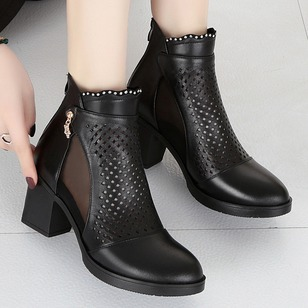 Zipper Hollow-out Ankle Boots PU Chunky Heel Shoes