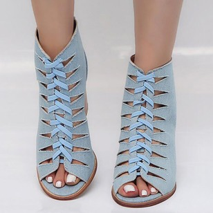 Lace-up Heels Denim Chunky Heel Shoes