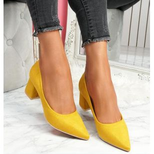 Women's Pointed Toe Chunky Heel Pumps (100772238)