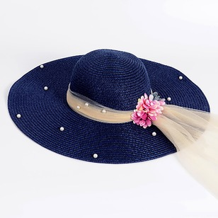 Straw Beading Flowers Solid Hats