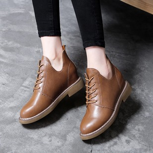 Lace-up Ankle Boots PU Low Heel Shoes