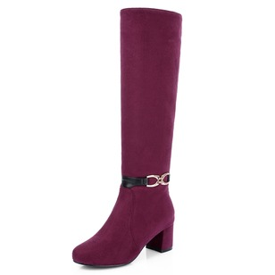 Knee High Boots Suede Chunky Heel Shoes
