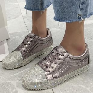 Women's Rhinestone Lace-up Closed Toe Flat Heel Sneakers (4126663)