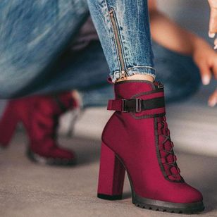 Women's Lace-up Ankle Boots Closed Toe Chunky Heel Boots (107519742)