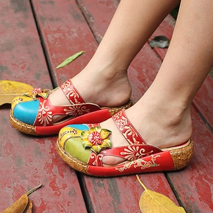 Flower Slippers Real Leather Flat Heel Shoes