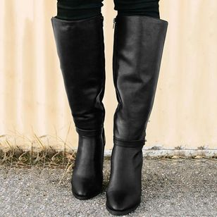 Women's Buckle Zipper Knee High Boots Closed Toe Chunky Heel Boots (120648393)
