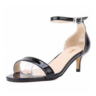 Women's Sandals Peep Toe Heels Low Heel Patent Leather Shoes